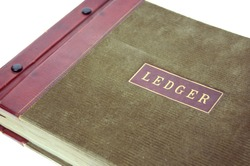 Old accounting ledger book with white background.