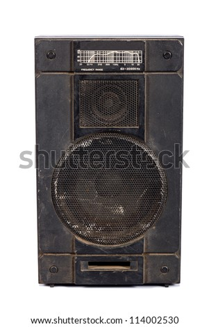 old acoustic system on white background