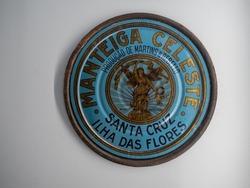 Old advertising for the Celeste butter brand originating in Santa Cruz das Flores, on display at the Flores Museum. Santa Cruz das Flores, Flores Island.