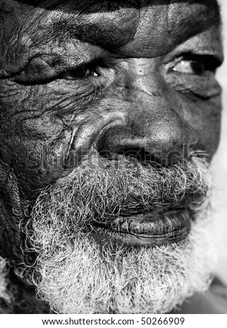 Old African face of a man