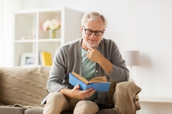 old age, leisure and people concept - senior man sitting on sofa and reading book at home