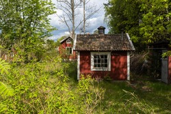 Old aged abandoned cabin house in the woods. Dacha or guest house in forest. Nobody lives there. The old wooden building fell into disrepair. Dirty roof tiles. Garden was overgrown with time.