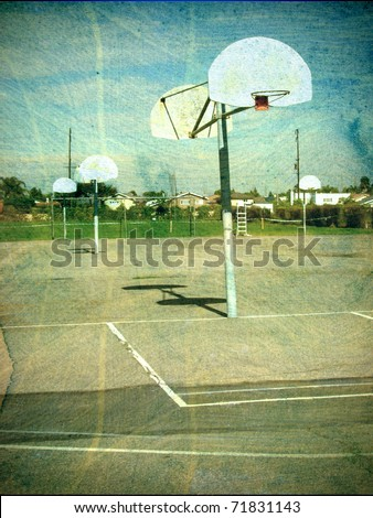 old aged photo of playground basketball hoop and court