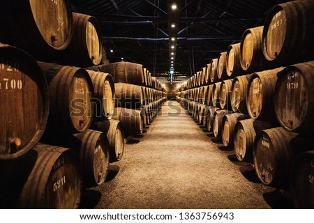 Old aged traditional wooden barrels with wine in a vault lined up in cool and dark cellar in Italy, Porto, Portugal, France Imagine de stoc ©