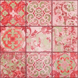 Old aged worn red seamless square vintage retro mosaic tiles wall texture with geometric floral flower leaves print, tile mirror pattern background square