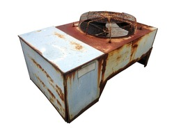 Old air conditioner located on white background.Rust of metals.Corrosive Rust on old iron.Use as illustration for presentation.Selective focus.