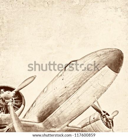 Old aircraft, vintage illustration