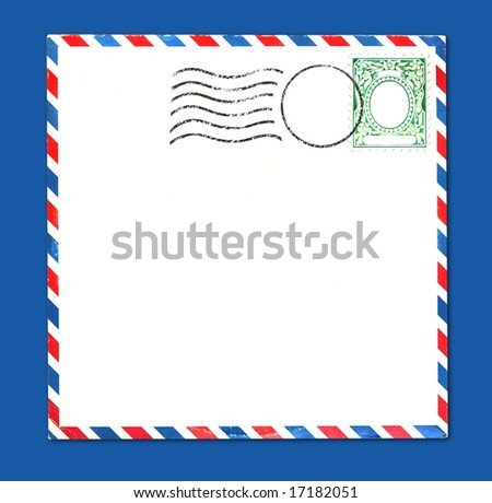 Old Airmail Parcel Type Envelope With Postal Stamp and Stripes Distressed and Grungy