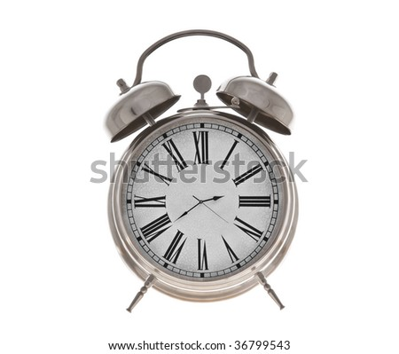 Old alarm clock isolated on the white