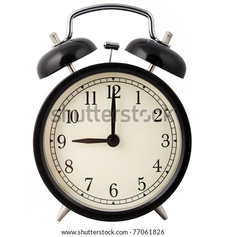 Old Alarm Clock isolated on white in black and white, showing nine o'clock