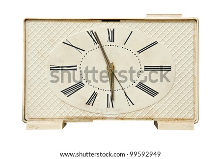 Old alarm clock isolated over white background