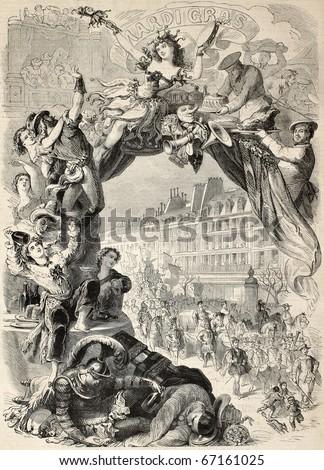 old allegoric illustration of...