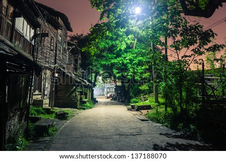 old alley in Fuzhou city at night, Jiangxi Province,