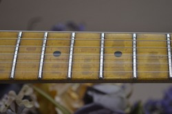 Old Amber Maple Guitar Neck Showing Finger Wear