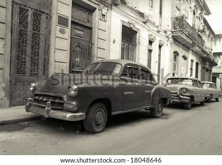 Old American cars in Havana Cuba