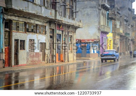 Old American cars on the streets of Havanna, Cuba stock photo