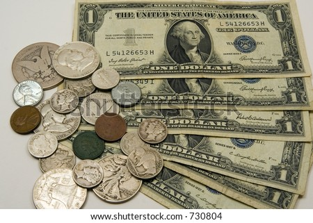 old american money bills and coins