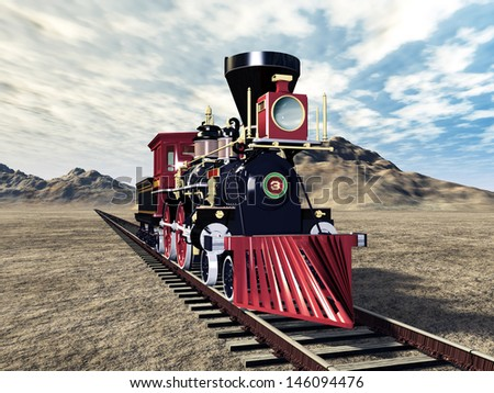 Old American Steam Locomotive Computer generated 3D illustration