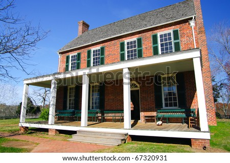 Old American Tavern: The Clover Hill Tavern was built in 1819 and was restored in 1954 as part of Appomattox Courthouse National Park, Virginia.