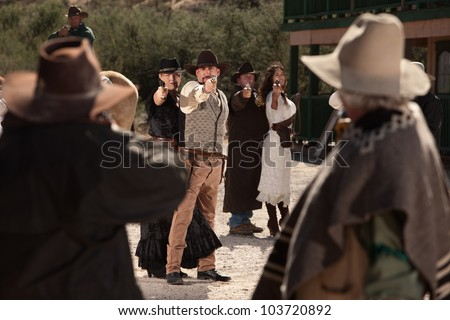 Old American west shoot out on dusty street