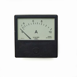 Old analog ammeter isolated on a white background