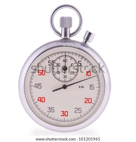 Old analog stop watch in white. Clipping path included.