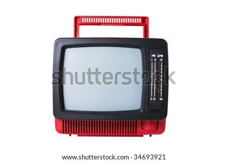 old analog TV set isolated