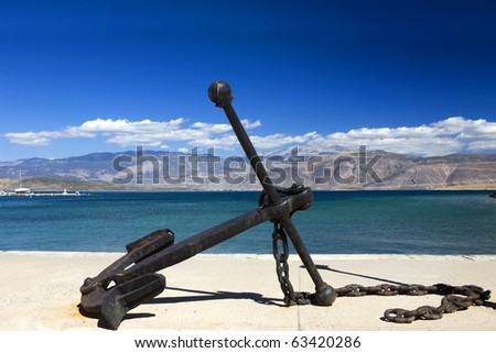 old anchor on the blue sky background