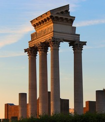 old ancient architecture greek colum