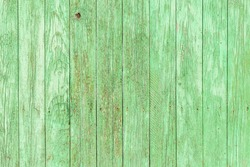 Old ancient bright green unevenly painted vertical wooden plank wall with painted nails in it