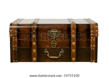 Old ancient chest isolated on white background