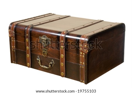 Old ancient chest isolated on white background - stock photo