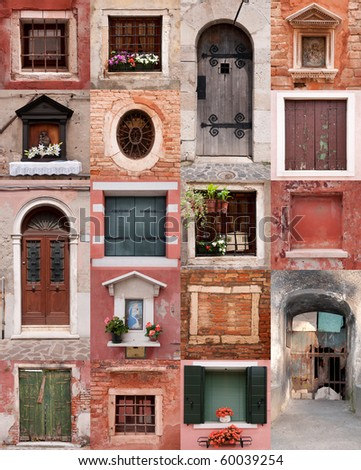 Old ancient doors and windows collection
