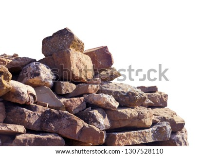 old ancient ruined pile of red and brown bricks and stone blocks foreground closeup isolated on white background #1307528110