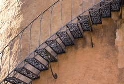 old ancient vintage steel stairs outside of a moated castle tower, Mespelbrunn, spessart, Germany (detail close up shot)