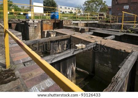 Old and damaged sewage treatment plant