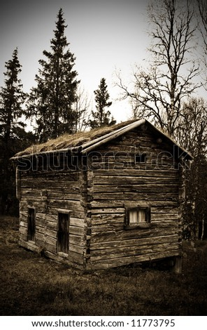 old  and deserted timber house in the north of Sweden