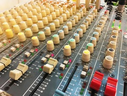 Old and dirty Amplifier and equaliser mixer switch of sound equipment
