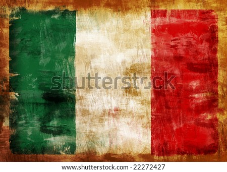 Old and dirty Italy flag painted