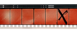 old and empty 16mm film movie strip on white background