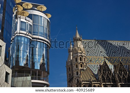 Old and modern, Stephansdom and Haas-Haus, Vienna, Austria