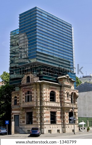 Old and new architectural style of an office building in Bucharest - Romania