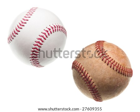 old and new baseballs with red stitching isolated on white background