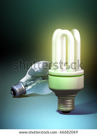 Old and new light technologies: tungsten bulb and energy saving bulb. Digital illustration.