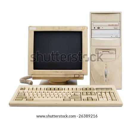 old and obsolete computer set isolated on white