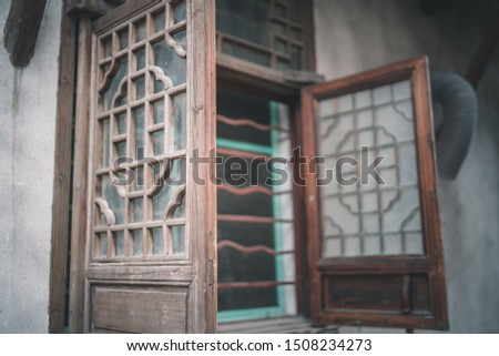 Old and old wooden windows in the ancient town