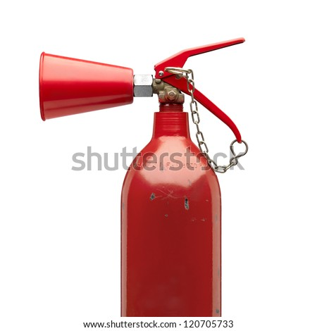 Old and roughed fire extinguisher side view with safety chain.Clipping path