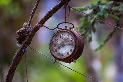 Old and rusty alarm clock hung in the garden as decoration. Photo taken in low light conditions. Blurred background.