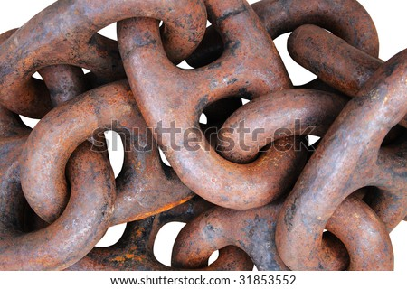 Old and rusty anchor chain background. Isolated on white