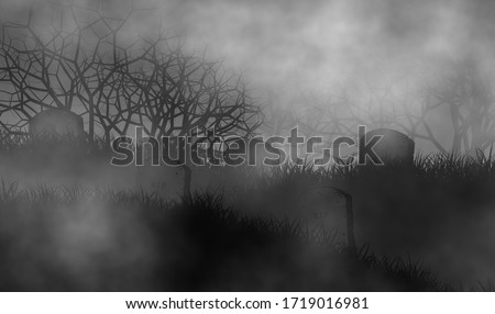 Old and scary cemetery in the dark with tombstones on graveyard and creepy trees on background.